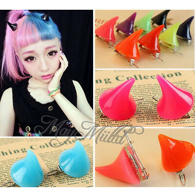 Lady Girl Cosplay Costume Little Devil Horns Candy Colored Hairpin Hair Clip H