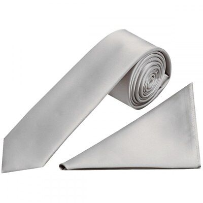 Handmade Silver Satin Skinny Boys Tie And Pocket Square Set Wedding Tie Prom Tie Up-To-Date-Styling