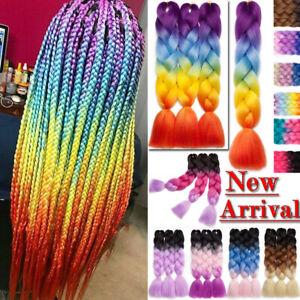 New-Bulk-Jumbo-Braiding-Hair-Extension-Ombre-Kanekalon-Twist-Braid-Multi-Color-J