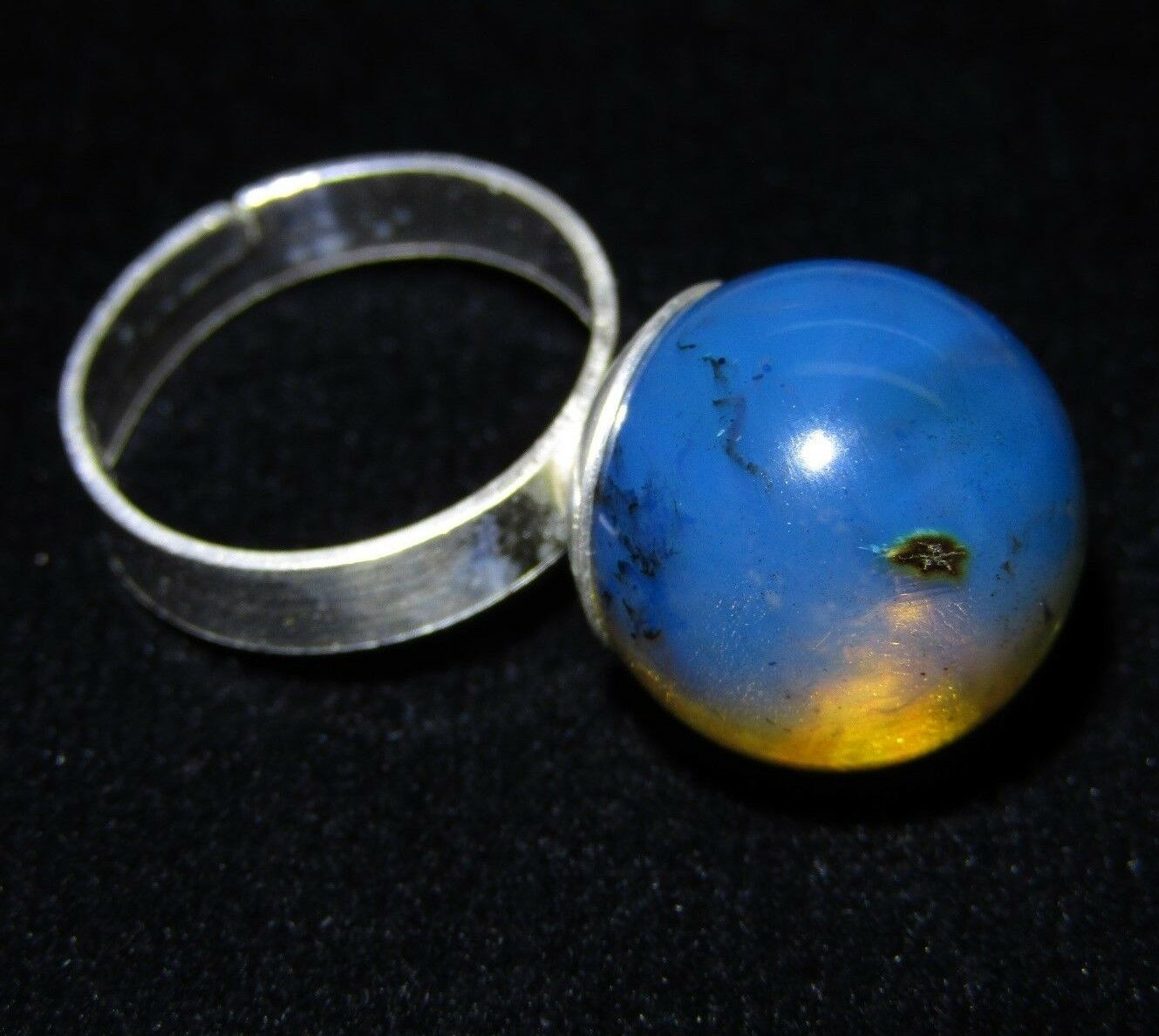 Dominican Amber Ring Adjustable 925 Sterling Silver Bead 15.39mm (3.8 g) d794