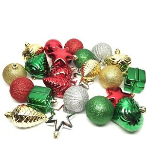 24 Vintage Christmas Tree Ornaments Shatterproof Red Green Gold
