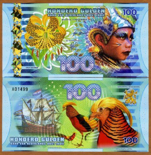 2016 Polymer 100 Gulden Indonesia UNC /> Boy Netherlands East Indies