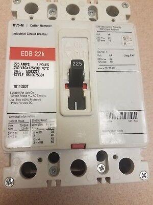 NEW EATON CUTLER HAMMER EDB3225 Industrial Curcuit Breaker 225AMPS 240VAC 3 POLE