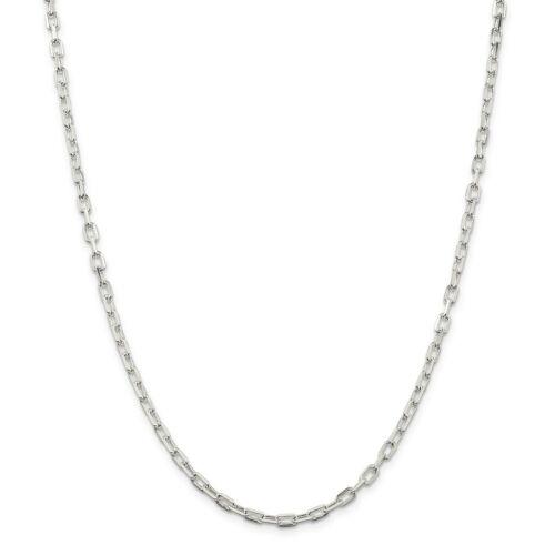 """24/"""" Sterling Silver 3.5 mm Fancy Diamond Cut Open Link Câble Chaîne 18/"""""""