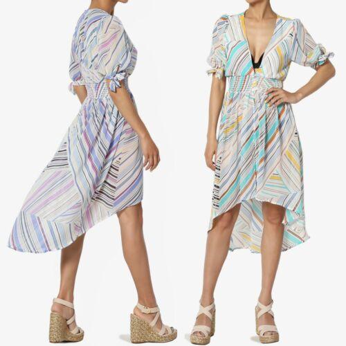 TheMogan Stripe Tie Short Sleeve Smocked Waist Hi-Lo Mini Midi Cover Up Dress