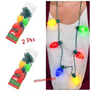 Light Up Christmas Necklace.Details About 2 Pc Christmas Necklace Lights Led Xmas Bulbs Kids Adults Party Favors Light Up