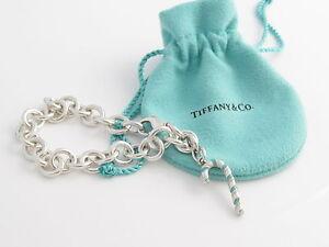 ef134c240e57 Tiffany   Co Silver Turquoise Blue Enamel Candy Cane Charm Bracelet ...