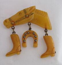 VTG Bakelite Light Butterscoth Racing Horse Head w/Boots&Shoe Dangles Pin Brooch