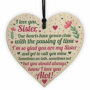 Christmas Gifts For Sister.Details About Sister Birthday Cards Christmas Gifts Sister Decoration Wooden Heart Thank You