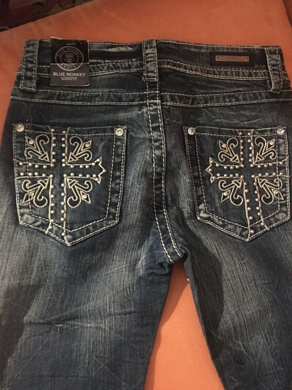 Coole Marken Blau Monkey Jeans Jeanshose NEU 26 32 Nieten Glanzsteine Stickerei