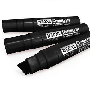 Pentel-N50XL-Extra-Large-Large-Marqueur-Permanent-Pointe-Biseautee-Paquet-de-3