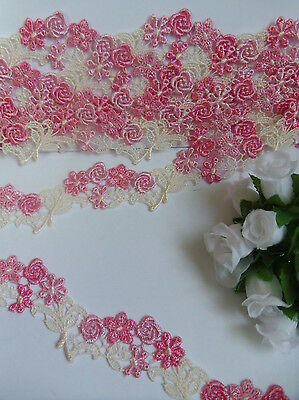 """1-1/8"""" Shade of Pink / Hot Pink Venise Lace Rose Trims- 2 Yards- T584"""
