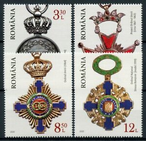 Romania-Military-Stamps-2020-MNH-Romanian-Orders-amp-Medals-4v-Set