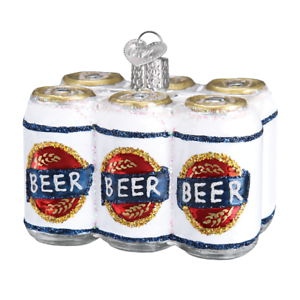 034-Six-Pack-of-Beer-034-32333-X-Old-World-Christmas-Glass-Ornament-w-OWC-Box