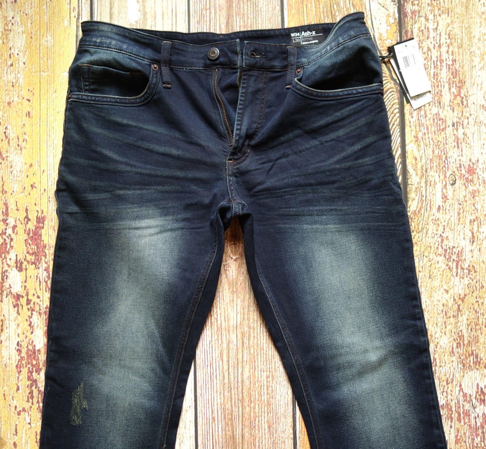 NEW Buffalo Ash-X W34xL30 Skinny Stretch Cotton Blend