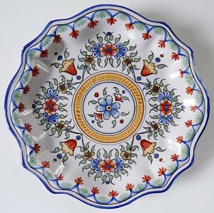 Ancienne-assiette-murale-Faience-de-Nevers-A-MONTAGNON-Decor-floral-Fin-IXXe