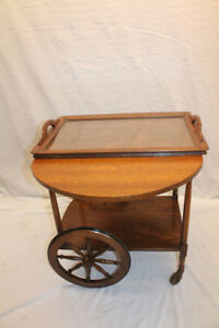 Incredible-Arts-amp-Crafts-Tiger-Oak-Serving-Drop-Leaf-Table-Tea-Cart-with-Tray