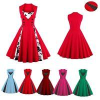 Women Vintage Dress 50s Swing Polka Dot Pinup Rockabilly Party Dresses Christma