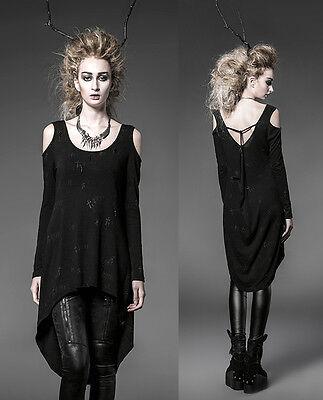 Punk Gothic Rock Black Long Cardigan Tee Shirt Top Visual Kei Women fashion F