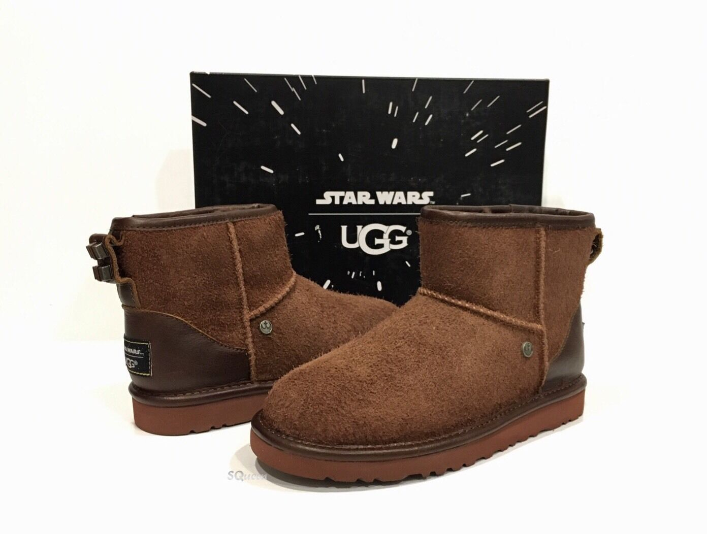 e2113684a5f Kids 2 UGG 1011717 Chewbacca Star Wars Suede Classic Mini Pull on BOOTS