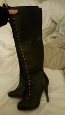 Size 6 black stiletto lace up boots thigh highs