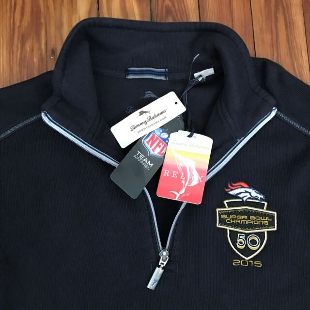 94472334 Tommy Bahama NFL Denver Broncos Super Bowl 50 1/2 Zip Sweater Small