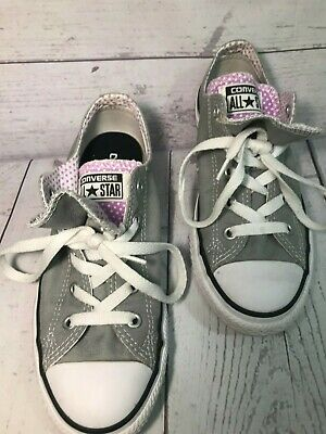 Converse All Star Grey & Pink Double Tongue Kids Junior Youth Shoe Size 2 | eBay