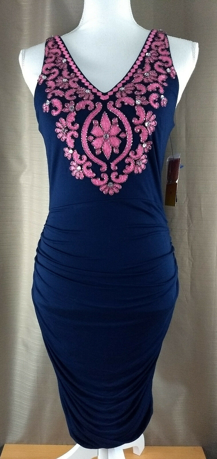 Inc bluee Pink Daisy Embroidered Beaded Women's Medium Sheath Dress Dress Dress Sleeveless 8753ee