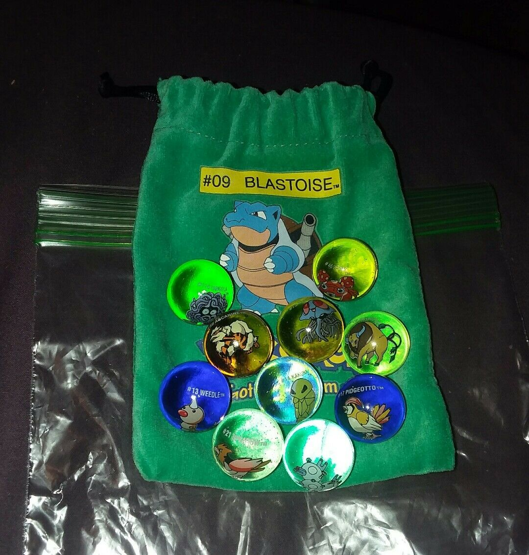 Mixed Lot Of 10 Collectible Vintage  Pokemon Glass Shooter Marbles Bag  09