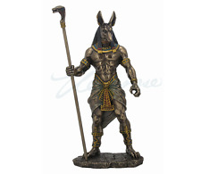 Anubis Holding Cobra Head Scepter Egyptian God Statue Sculpture Figurine