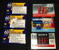 6 - 60 & 90 Minute Cassette Tapes Lot Unused Sealed Sony, Memorex More+