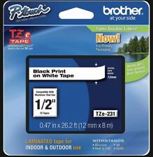 Genuine Brother Tze 231 12 Black On White P Touch Tz Tape