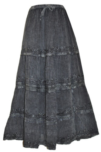 FREE SIZE LADIES NEW LONG TIERED HIPPY BOHO GYPSY FULL MAXI SKIRT WITH SEQUINS
