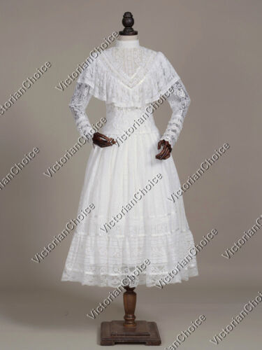 Victorian Costumes: Dresses, Saloon Girls, Southern Belle, Witch    White Edwardian Victorian Vintage Lace Overlay Wedding Gown Theater Wear N 030 $159.00 AT vintagedancer.com