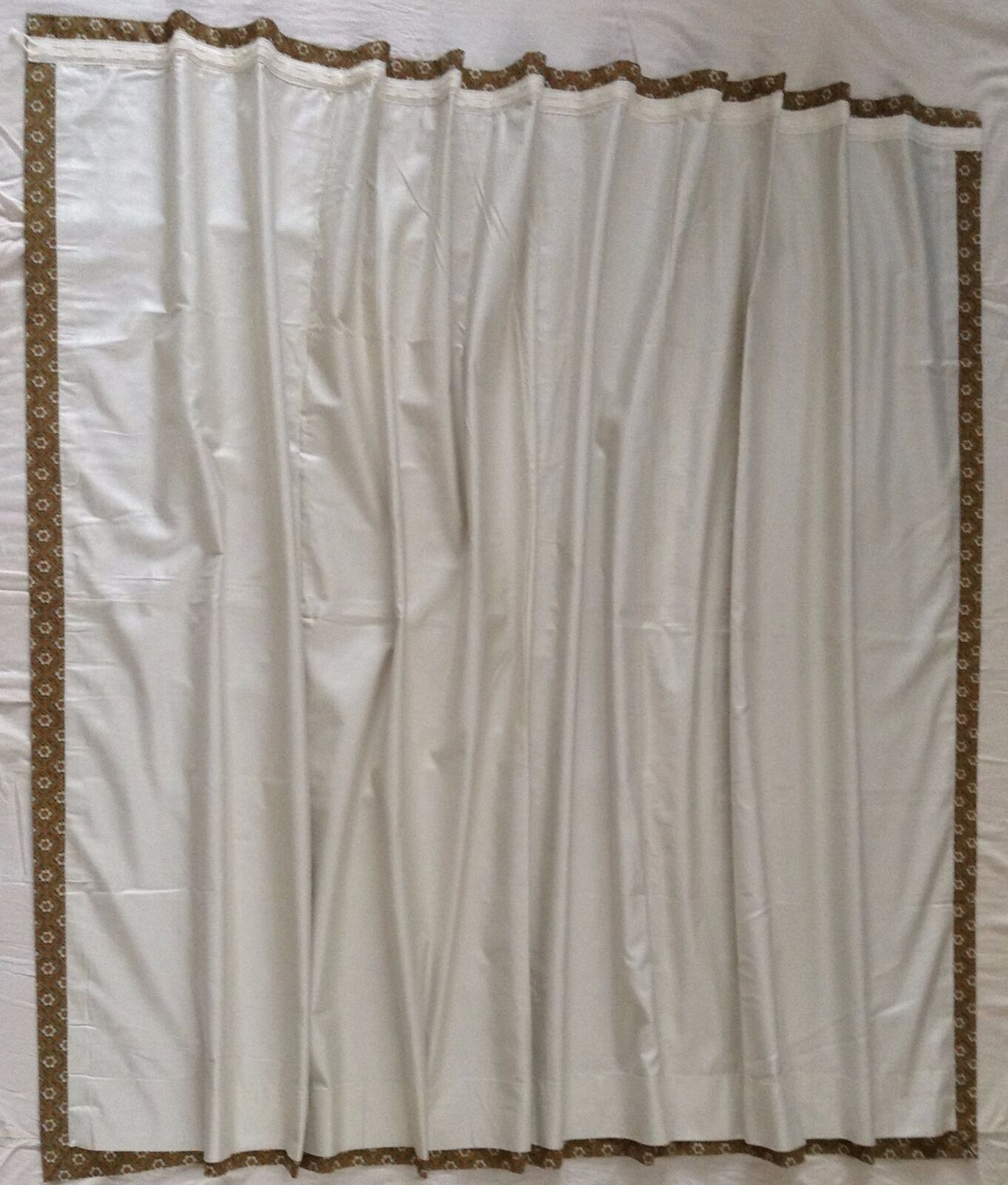 70's braun Width-354 cm X Length-137 cm Sanderson Pair Lined Lined Lined Curtains Retro 4cca71