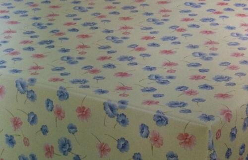 Toile Cirée Nappe rectangulaire environ Ovale Lavable fleurs rouge bleu k-150046