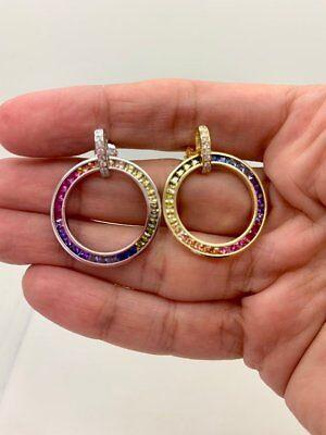 925 Sterling Silver Ruby /& Rainbow Multi Color Infinity Hoop Earrings