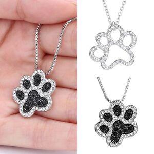 Crystal-Rhinestone-Silver-Footprint-Dog-Paw-Pendant-Necklace-Box-Chain-Locket