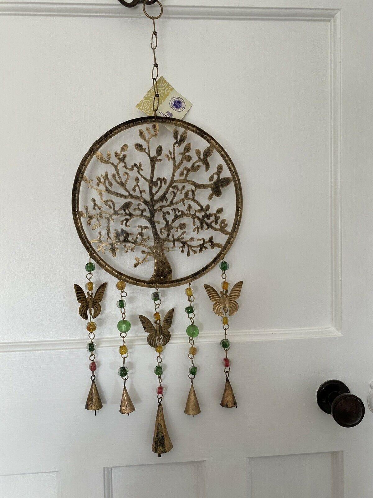 Namaste Tree Of Life Hanging Windchime/Mobile with bells, beads and butterflies
