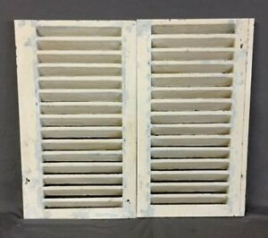 Image Is Loading Small Pair Antique House Window Wood Louvered Shutters