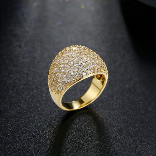 Luxurious 18K Gold White Sapphire Wedding Engagement Anniversary Ring Jewelry