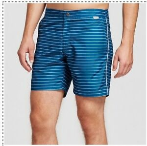 5cab87b7a2 IBIZA Swim Trunks Blue striped Size 34 men Button & Draw Strings NWT ...