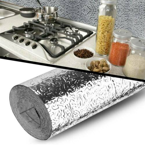 Self Adhesive Waterproof Oil-proof Aluminum Foil Kitchen Cabinet Wall Sticker CA