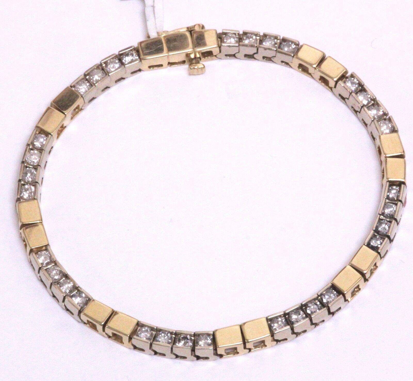 14k yellow white gold 3.20ct SI3 J diamond tennis bracelet 20.9g ladies estate