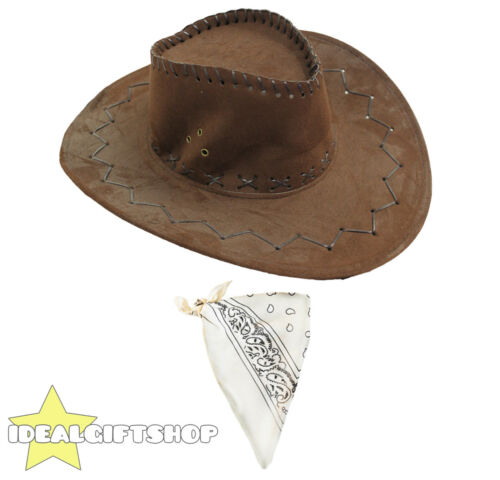 FAUX SUEDE COWBOY HATS AND PAISLEY BANDANA WESTERN FANCY DRESS COSTUME ACCESSORY