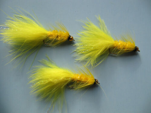 3 x GOLD HEAD YELLOW TADPOLE LONG SHANK LURES  sizes 10,12 available