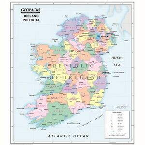Geopacks Reversible Ireland Map For Schools Political Physical Maps