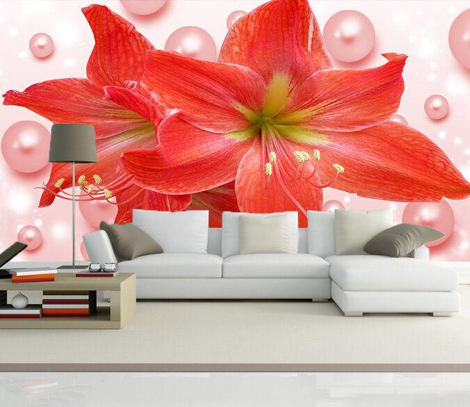 3D Rote petunien. 2652 Fototapeten Wandbild Fototapete BildTapete Familie DE