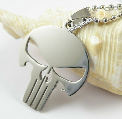 Wholesale 12pcs Mens 316L Stainless steel Punisher Skull Pendant Necklaces New