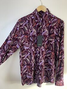 BNWT-Zara-Purple-Pattern-Shirt-Top-Peacock-Feathers-UK-Small